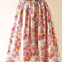 Floral Skirt Blue with Pink Rose Paradise Floral Romantic Skirt
