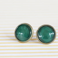 Hunter Green Glass Earrings