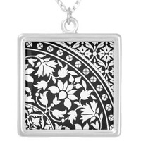 Indian Black and White Floral Geometric Pattern Pendants