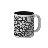 Indian Black and White Floral Geometric Pattern Mugs
