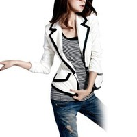 Allegra K Woman Long Sleeve Black Trim Pad Shoulder Buttoned Blazer Coat White XS