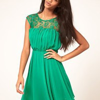 ASOS | ASOS Skater Dress with Lace Insert at ASOS