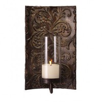 IMAX Galicia Embossed Metal and Glass Wall Sconce - 12246 - Candles & Holders - Decorative Accents - Decor