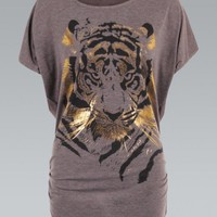 Mocha Oversized Tiger Print Tunic Top