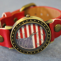 Retro American flag watch womens watches fashion watch Patriotic teen watch stocking stuffers vintage look time piece W6 AMERICAN PRIDE