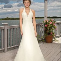 Chiffon Halter V-Neck A-Line Beach Wedding Dress - Basadress.com
