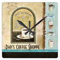 Deja' Brew Coffee Art Stacked Cups Mugs Caffeine Wall Clocks