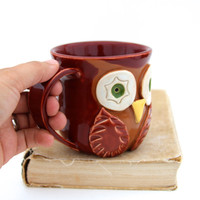 Owl Porcelain Mug - Rustic Red - Brown Owl - Original OOAK Design - Ready to Ship