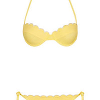 Yellow Scallop Push Up Bikini - Topshop USA