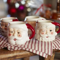 Santa Mugs, Set of 4