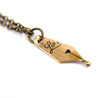 Love Pen Nib Necklace Fashion Jewelry