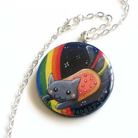Sale - Nyan Cat Necklace, Art Print Pendant, Art Resin Jewelry, Rainbow Charm, Geek Accessory