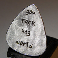Guitar Pick  Sterling Silver  with You Rock my World in Lower Case handmade