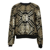 Baroque Gold Sequin Black Party Sweatshirt for Women