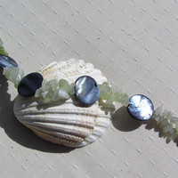"Crystal Gemstone Bracelet - Green Jade & Black Mother of Pearl  - ""Fresco"""