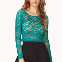 Poetic Floral Lace Crop Top