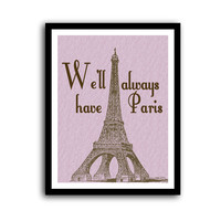 Casablanca Paris Romantic Pink Typography Poster