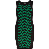 Green chevron knitted tube dress - knitted dresses - knitwear - women