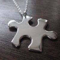 Silver Puzzle Piece Pendant Necklace by GorjessJewellery on Etsy
