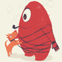 Cyclopes Monster Blob & Orange Dog Art Print by andy fielding