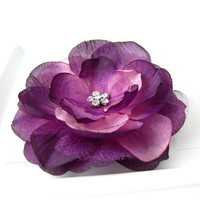 Aubergine Rose Flower Hair Clip