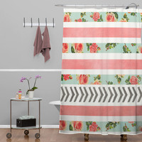 DENY Designs Home Accessories | Allyson Johnson Floral Stripes And Arrows Shower Curtain