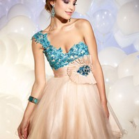 pictures of One shoulder lace/organza short Prom Dresses 2012 PDM306