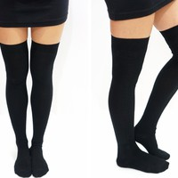 Knit Thigh High Socks /Tights - Black