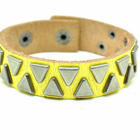 Yellow Real Leather Bracelet with Rivet Women Jewelry Bangle Fashion Bracelet, Men bracelet   C030
