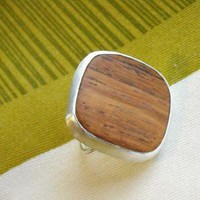 Wood and Sterling Ring Free Shipping by ModernMeetsWhimsy on Etsy