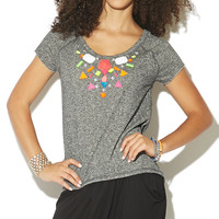 Jeweled Neck Sweatshirt Tee | Shop Just Arrived at Wet Seal
