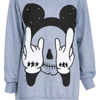 ROMWE | Skeleton Mickey Mouse Print Grey Sweatshirt, The Latest Street Fashion