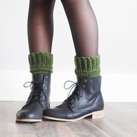 Crochet Boot Cuff Leg Warmers Bohemian Trendy Warm Fall Winter Boot Accessories in Olive