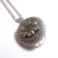 Feminine Industrial Silver Flower Locket