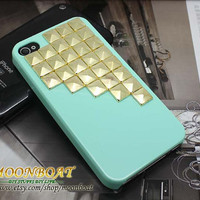 Light Green Cell Phone Hard Case Cover  With Golden by moonboat