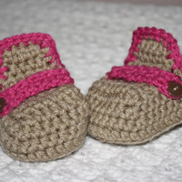 Infant Moccosins in Light Brown and Pink Baby Shower- Photo Prop