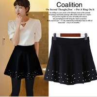 Pearl Beaded A Line Mini Skirt Korean Women Fashion US sz 0 2 4 6