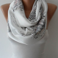 World Print White Infinity Scarf