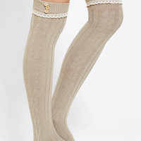 Lace-Trim Button-Cuff Over-The-Knee Sock - Urban Outfitters
