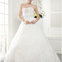 Beading Ball Gown Sweetheart Lace Wedding Dress