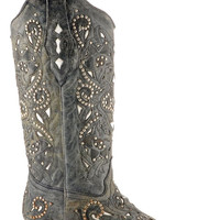 Corral Boots Women's Black Crater Inlay Cowgirl Boots