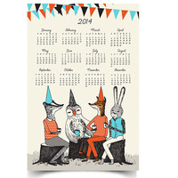 2014 Tea Party Wall Calendar - 11x17 Poster -  SHIPS OCT 30th.