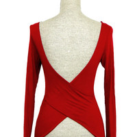 Crossing Paths Criss-Cross V Back Top - Red -  $32.00 | Daily Chic Tops | International Shipping