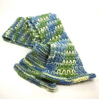 Beautiful Hand Knit Scarf Blue Green Yarn Fashion Accessory Bluebell