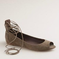 Women's shoes - ballets - Lana suede lace-up ballet flats - J.Crew