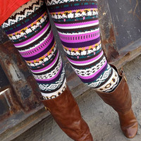 Purple-Tone Aztec Leggings | The Rage