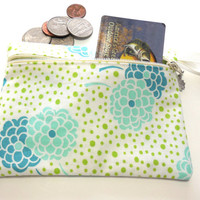 Makeup Bag, Cosmetic Bag, Change Purse Blue and Teal Floral Print