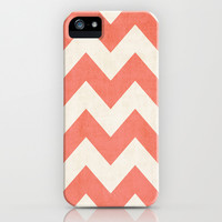 Vintage Coral Chevron iPhone & iPod Case by Ann B.