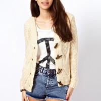 Only Cable Knit Toggle Cardigan