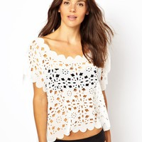 ASOS Laser Cut Scalloped Beach Top